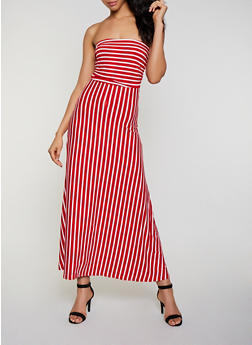 Striped Soft Knit Tube Maxi Dress - 3094073376200