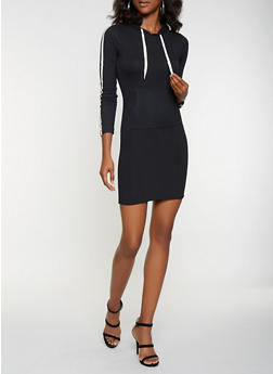 Varsity Stripe Hooded T Shirt Dress - 3094073376421