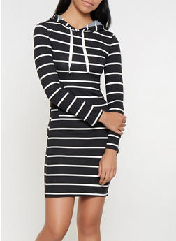Striped Hooded T Shirt Dress - 3094073376422