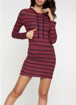 Striped Hooded T Shirt Dress - 3094073376422