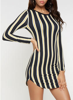 Vertical Stripe Long Sleeve Dress - 3094073376423