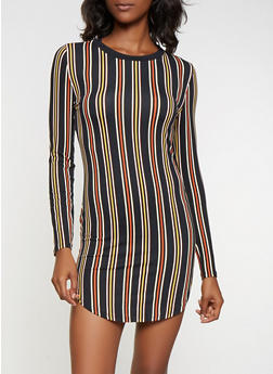 Striped Soft Long Sleeve Dress - 3094073376424