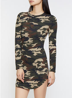 Soft Knit Camo Dress - 3094073378284