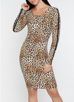 Varsity Stripe Sleeve Leopard Dress - 3094073378789