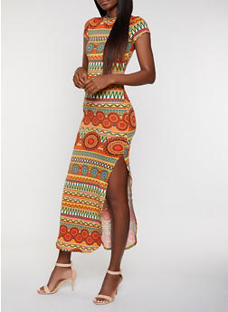 Tribal Print Mock Neck Maxi Dress - 3094073378900