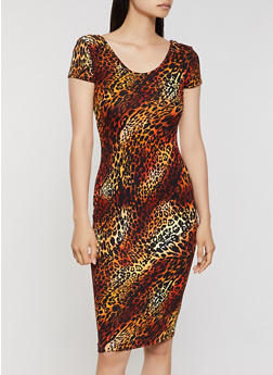 Soft Knit Leopard T Shirt Dress - 3094073378901
