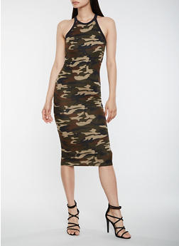 Camo Print Bodycon Tank Dress - 3094073379612