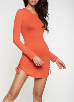 Lace Up Side Dress - 3094073379613