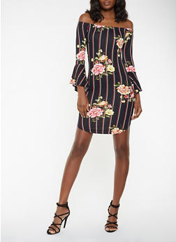 Floral Striped Off the Shoulder Dress - 3094074010213