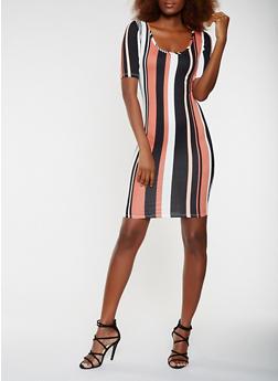 Striped Soft Knit Bodycon Dress - 3094074014302