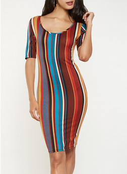 Striped Soft Knit Bodycon Dress - 3094074014303