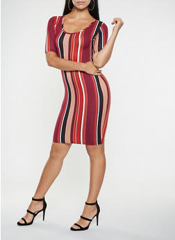 Vertical Stripe Bodycon Dress - 3094074014304
