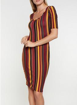 Striped Soft Knit Bodycon Dress - 3094074014331