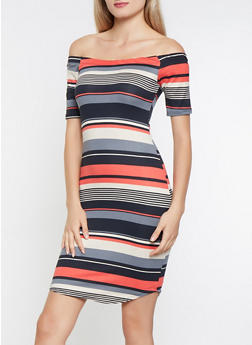 Striped Off the Shoulder Dress - 3094074014332