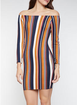 Striped Off the Shoulder Dress - 3094074280525