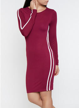 Varsity Stripe Detail Bodycon Dress - 3094074280526