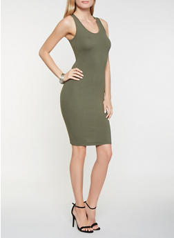 Solid Midi Tank Dress - 3094074281510