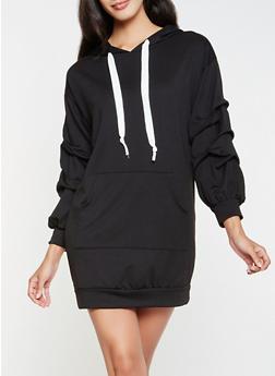 Hooded Sweatshirt Dress - BLACK - 3094074282806