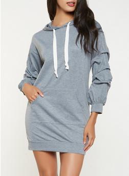 Hooded Sweatshirt Dress - 3094074282806