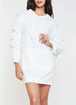 Hooded Sweatshirt Dress - WHITE - 3094074282806