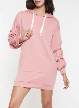 Hooded Sweatshirt Dress - 3094074282806