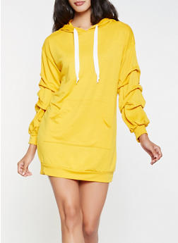 Hooded Sweatshirt Dress - MUSTARD - 3094074282806