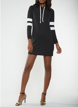 Varsity Stripe Sleeve Sweatshirt Dress - 3094074282807