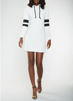 Varsity Stripe Sleeve Sweatshirt Dress - WHT-BLK - 3094074282807