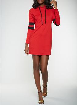 Varsity Stripe Sleeve Sweatshirt Dress - 3094074282807