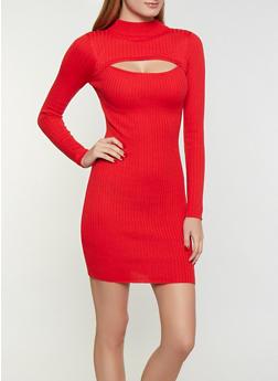 Keyhole Sweater Dress - 3094075170121