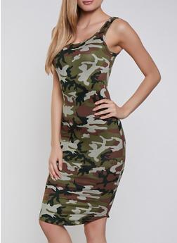 Printed Tank Bodycon Dress - OLIVE - 3094075171034