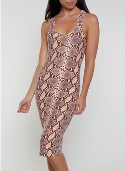 Snake Print Soft Knit Bodycon Tank Dress - 3094075171086
