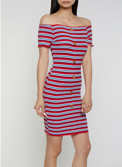 Off the Shoulder Striped Ribbed Knit Dress - 3094075172002