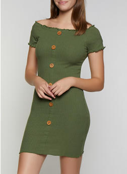Button Off the Shoulder Rib Knit Dress - 3094075172003
