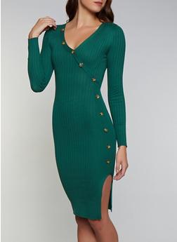 Button Detail Faux Wrap Sweater Dress - 3094075172074