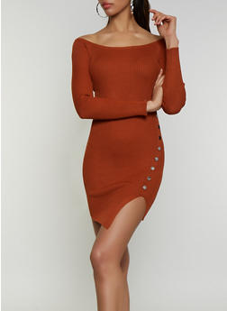 Snap Detail Ribbed Knit Dress - 3094075172075