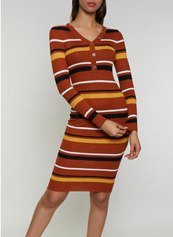 Striped Button Neck Detail Sweater Dress - 3094075172083