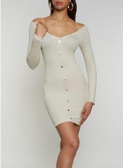 Off the Shoulder Ribbed Knit Dress - 3094075172084