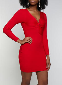 Ribbed Twist Front Sweater Dress - 3094075172087