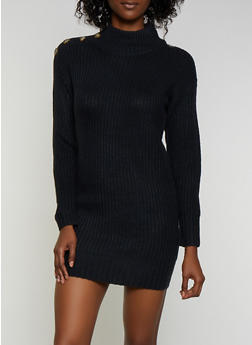 Button Detail Sweater Dress - 3094075172093