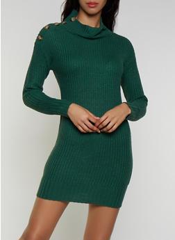 Button Detail Sweater Dress - 3094075172093