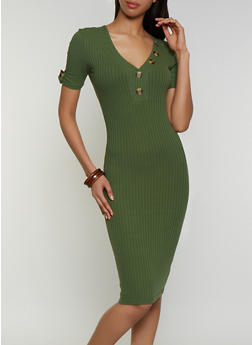 Button Neck Detail Ribbed Dress - 3094075173006