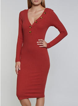 Ribbed Button Neck Detail Midi Dress - 3094075173007