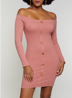 Faux Button Detail Off the Shoulder Dress - 3094075173011