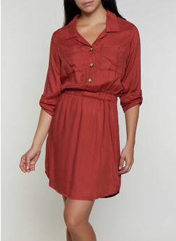 Tabbed Sleeve Shirt Dress - 3094075173037