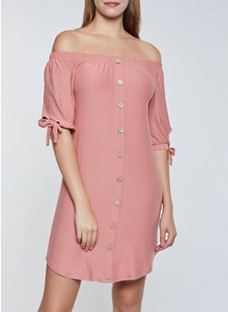Soft Knit Button Off the Shoulder Dress - 3094075173054