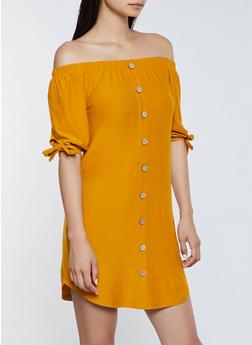 Soft Knit Button Off the Shoulder Dress - 3094075173054