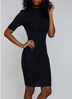 Rib Knit Ruched Shoulder Bodycon Dress - 3094075173125