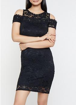 Lace Cold Shoulder Dress - 3096054265855