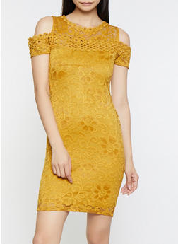 Lace Cold Shoulder Dress - 3096054265855